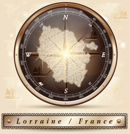 Map of lorraine with borders in bronze Illustration