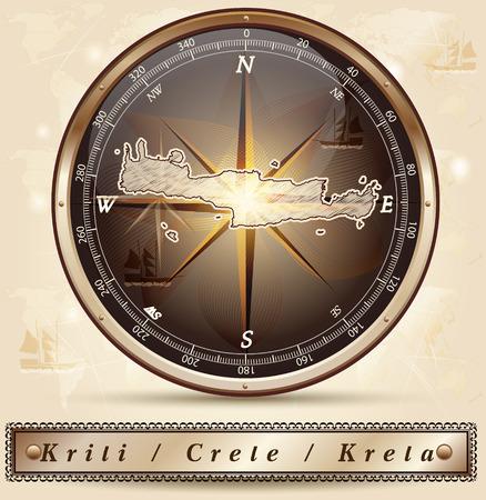 Map of Crete with borders in bronze Vector
