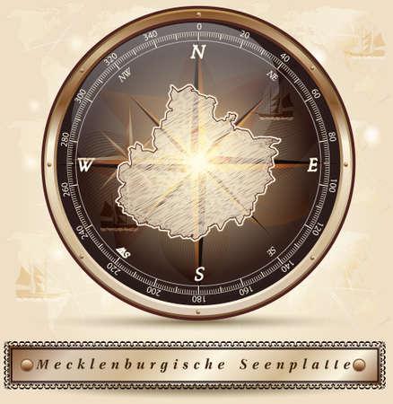 lakeland: Map of Mecklenburgische-Seenplatte with borders in bronze Illustration