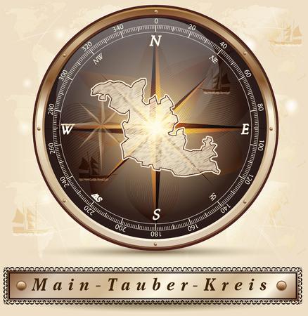 wertheim: Map of Main-Tauber-Kreis with borders in bronze
