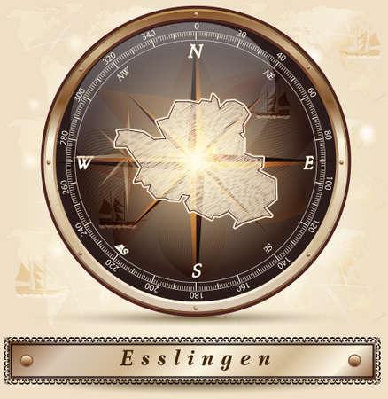 teck: Map of Esslingen with borders in bronze Illustration