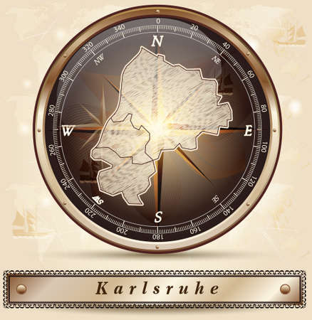 karlsruhe: Map of Karlsruhe with borders in bronze