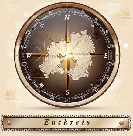 stein: Mappa di Enzkreis con bordi in bronzo