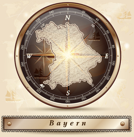 bavaria: Map of Bavaria with borders in bronze