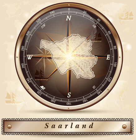saarland: Map of Saarland with borders in bronze Illustration