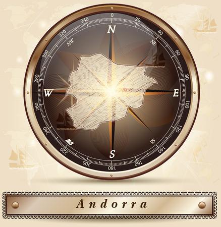 andorra: Map of Andorra with borders in bronze