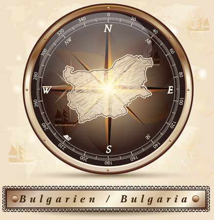 Map of Bulgaria with borders in bronze