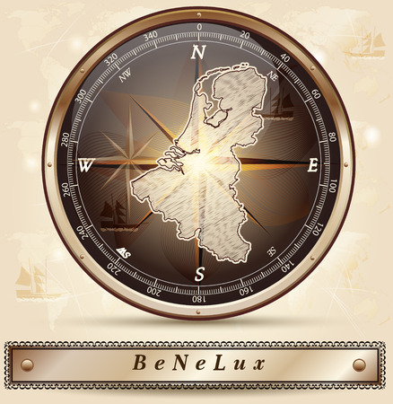 Kaart van Benelux met randen in brons