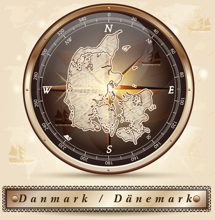 Map of Denmark with borders in bronze Illustration