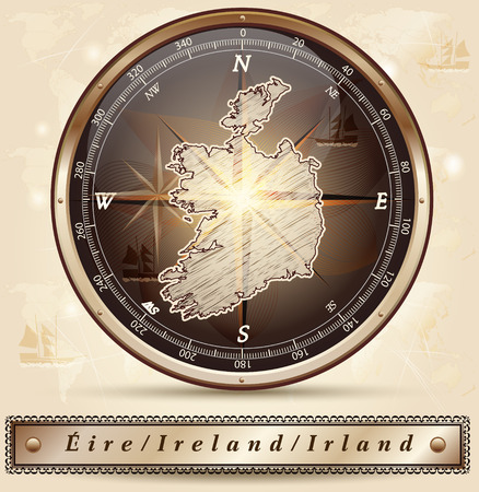 dun: Map of Ireland with borders in bronze Illustration