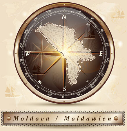 bender: Map of moldavia with borders in bronze Illustration