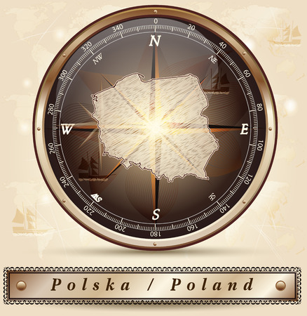 Map of Poland with borders in bronze