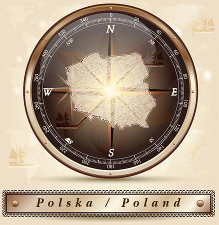 Mapa Polski z zaznaczonymi granicami w brązie