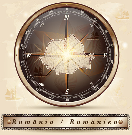 Map of Romania with borders in bronze Stock Vector - 35519117
