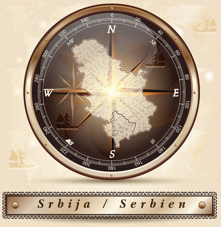 serbia: Map of Serbia with borders in bronze