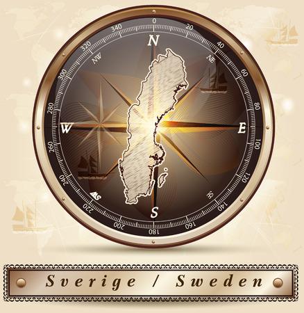 sverige: Map of Sweden with borders in bronze