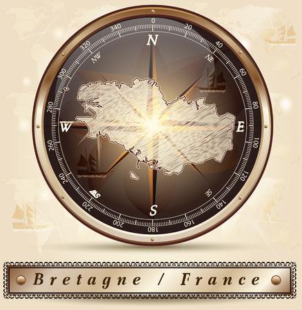 Kaart van Bretagne met randen in brons