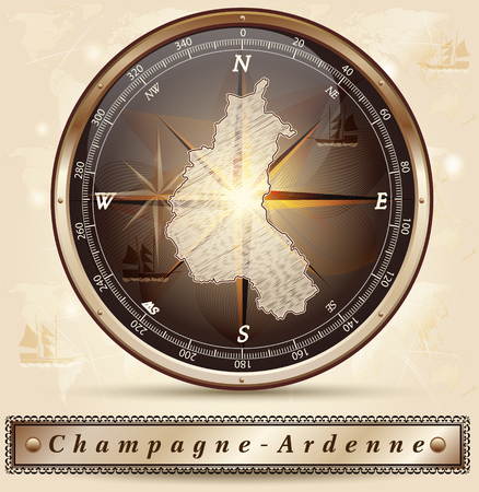 reims: Map of Champagne-Ardenne with borders in bronze