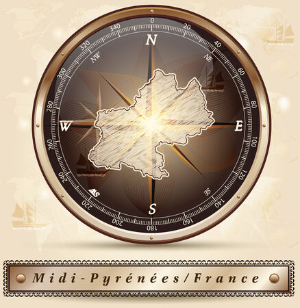 Map of Midi-Pyrenees with borders in bronze Ilustrace