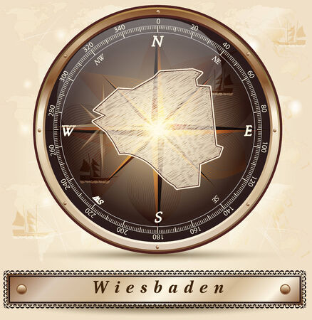 Map of Wiesbaden with borders in bronze Illustration
