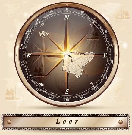 leer: Map of Leer with borders in bronze Illustration