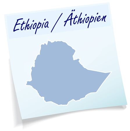 Map of Ethiopia as sticky note in blue
