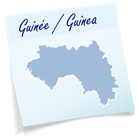 Map of Guinea as sticky note in blue Illustration