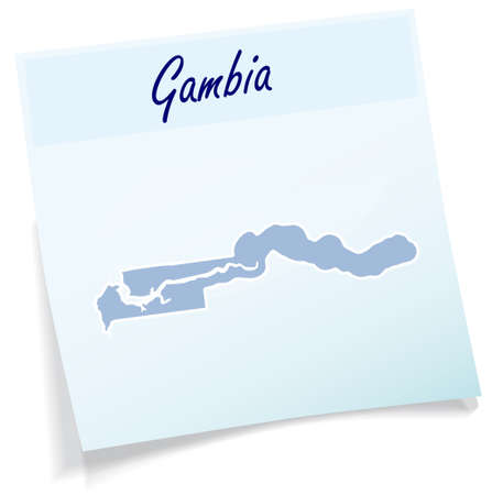 Map of Gambia as sticky note in blue Illustration