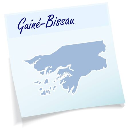 guinea bissau: Map of Guinea Bissau as sticky note in blue Illustration