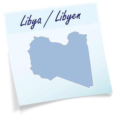 memos: Map of Libya as sticky note in blue