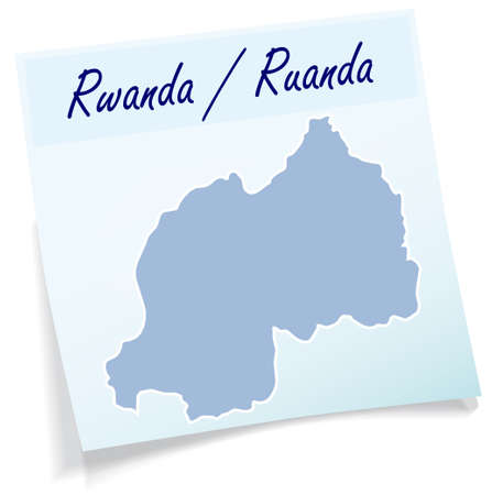 Map of Rwanda as sticky note in blue Illustration