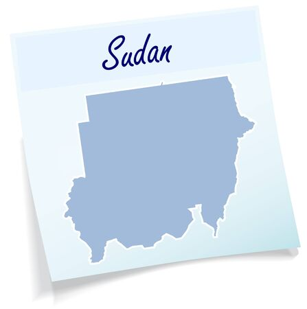 sudan: Map of sudan as sticky note in blue