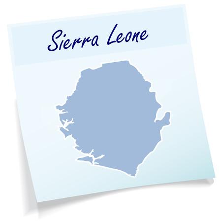 leone: Map of sierra leone as sticky note in blue
