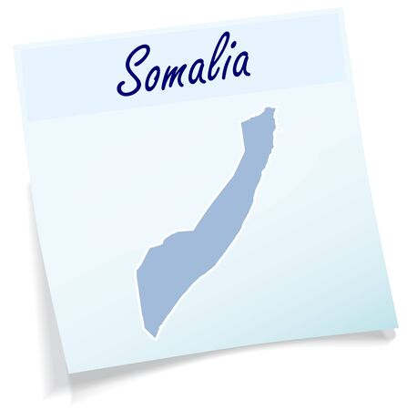 somaliland: Map of Somalia as sticky note in blue