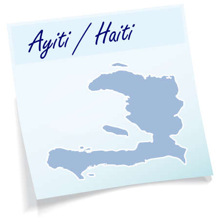 Map of Haiti as sticky note in blue