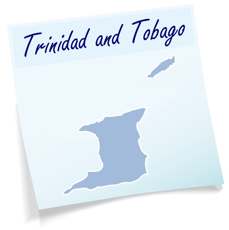 trinidad: Map of Trinidad and Tobago as sticky note in blue