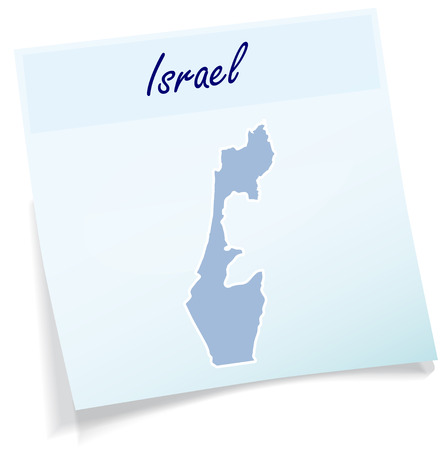 Map of Israel as sticky note in blue
