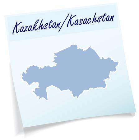 kazakhstan: Map of kazakhstan as sticky note in blue