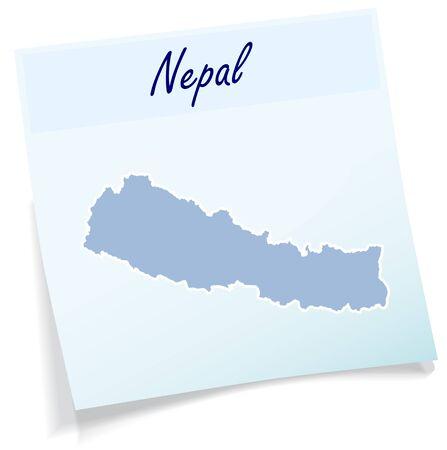 memorandum: Map of Nepal as sticky note in blue Illustration