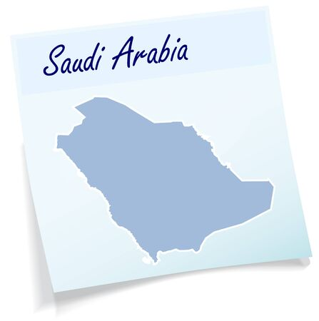 Map of Saudi Arabia as sticky note in blue Illustration