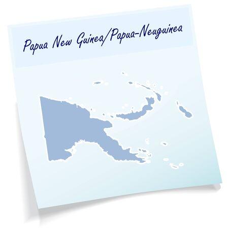 papouasie: Carte de Papouasie-Nouvelle-Guin�e comme note collante en bleu