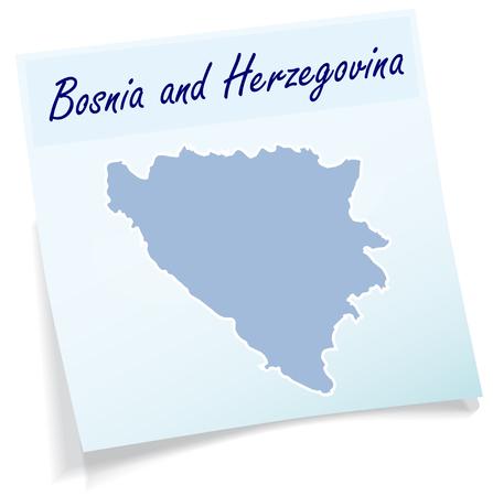 herzegovina: Map of Bosnia and Herzegovina as sticky note in blue Illustration