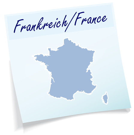 Map of France as sticky note in blue Illustration