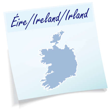 dun: Map of Ireland as sticky note in blue