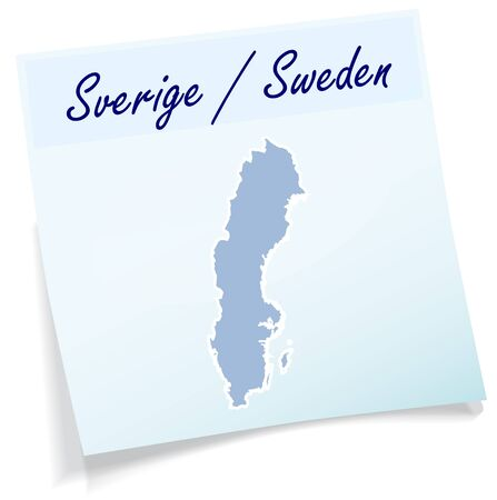 sverige: Map of Sweden as sticky note in blue Illustration