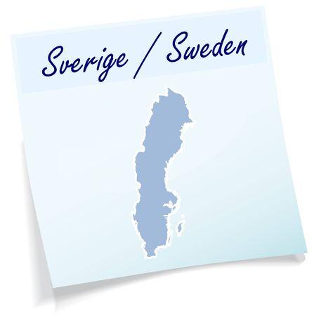 sverige: Map of Sweden as sticky note in blue Illustration