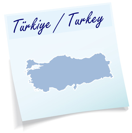 bursa: Map of Turkey as sticky note in blue