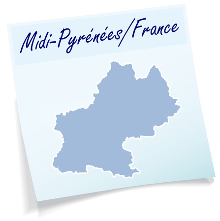 Map of Midi-Pyrenees as sticky note in blue Ilustrace