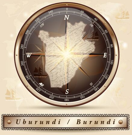 burundi: Map of burundi with borders in bronze