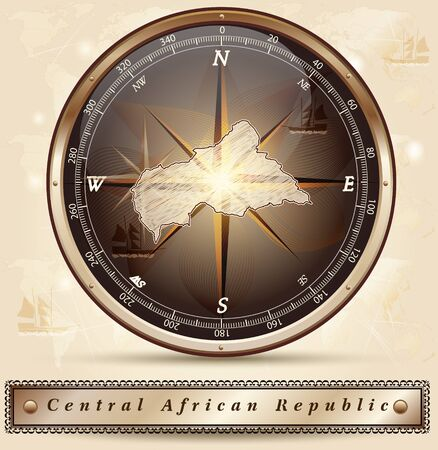 central african republic: Map of Central African Republic with borders in bronze